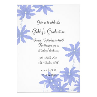 Periwinkle Blue Daisies Graduation Party Invite