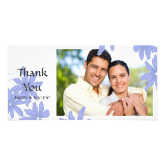 Periwinkle Blue Daisies on White Thank You Customised Photo Card