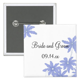 Periwinkle Blue Daisies on White Wedding 15 Cm Square Badge