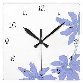 Periwinkle Blue Daisies Square Clock