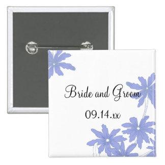 Periwinkle Blue Daisies Wedding 15 Cm Square Badge