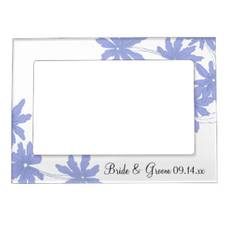 Periwinkle Blue Daisies Wedding Picture Frame Frame Magnets