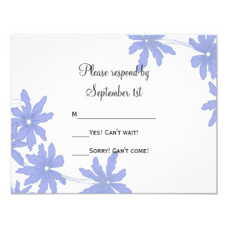 Periwinkle Blue Daisies Wedding RSVP Response Card