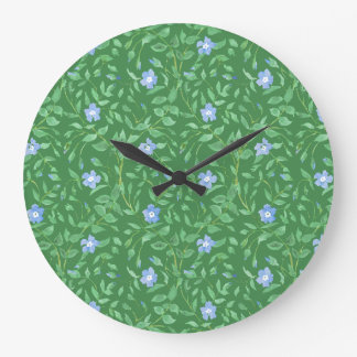 Periwinkle Blue Dark Green Country-style Floral Wallclock
