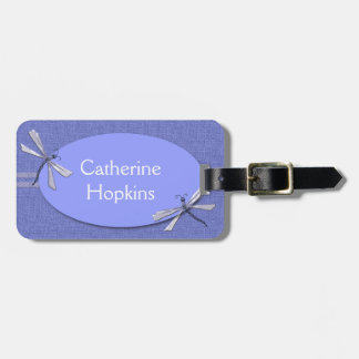 Periwinkle Blue Dragonflies Custom Luggage Tag