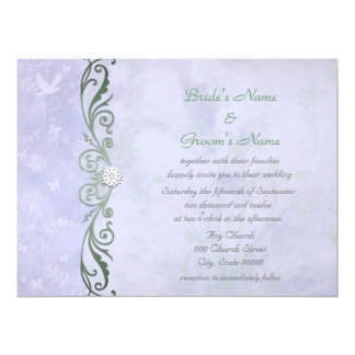 Periwinkle Blue Floral Spring  Wedding Card
