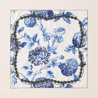 Periwinkle Blue Floral Toile Black Jet Bead Scarf