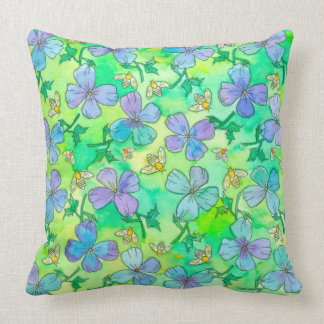 Periwinkle Blue Flowers Bees Cushion