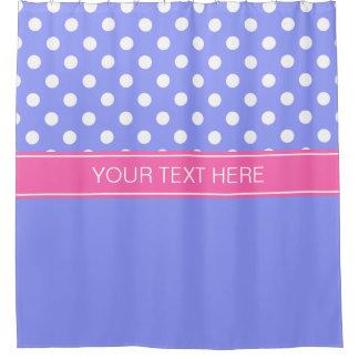 Periwinkle Blue LG Dot Hot Pink CB Name Monogram Shower Curtain
