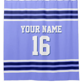 Periwinkle Blue Navy White Stripes Sports Jersey Shower Curtain