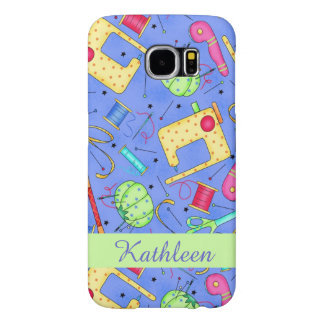 Periwinkle Blue Sewing Notions Name Personalised Samsung Galaxy S6 Cases