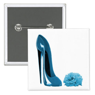 Periwinkle Blue Stiletto Shoe and Rose Pinback Buttons