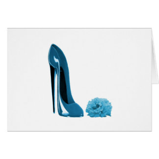 Periwinkle Blue Stiletto Shoe and Rose Greeting Card