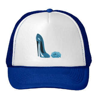 Periwinkle Blue Stiletto Shoe and Rose Hats