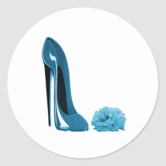 Periwinkle Blue Stiletto Shoe and Rose Round Sticker