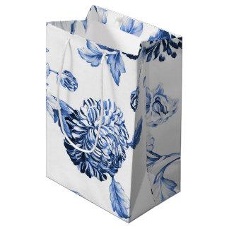 Periwinkle Blue Vintage Botanical Floral Toile Medium Gift Bag