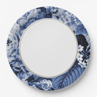 Periwinkle Blue Vintage Floral Toile Fabric No.1 Paper Plate