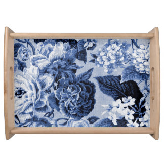 Periwinkle Blue Vintage Floral Toile No.1 Serving Tray
