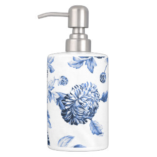 Periwinkle Blue & White Botanical Floral Toile No2 Bath Sets