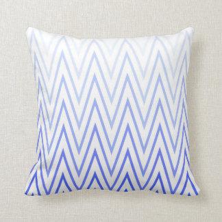 Periwinkle Blue White Gradient Chevron Pattern Throw Pillow