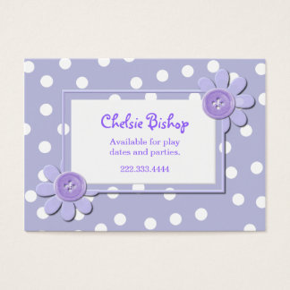 Periwinkle Blue & White Polka Dots Play date card