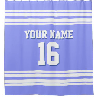Periwinkle Blue with White Stripes Sports Jersey Shower Curtain