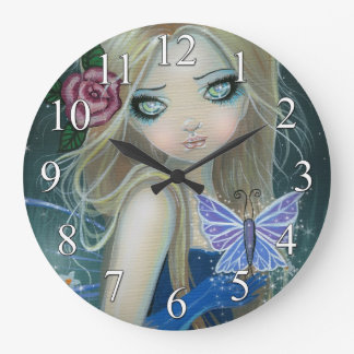 Periwinkle Butterfly Fairy Fantasy Art Wall Clock
