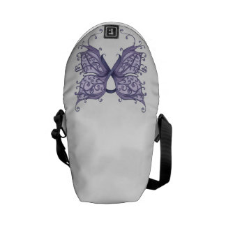 Periwinkle Cancer Ribbon with Butterfly Wings Courier Bag