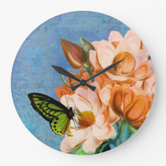 Periwinkle damask butterfly floral wall clock