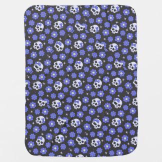 Periwinkle Flower Power Skulls Buggy Blanket