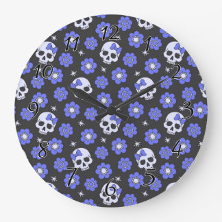Periwinkle Flower Power Skulls Wallclocks