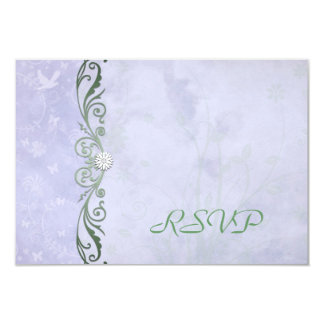 Periwinkle Green Floral Wedding RSVP Reply Cards