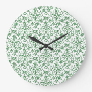 Periwinkle Green White Decorative Chic Floral Wall Clock