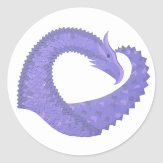 Periwinkle heart dragon on white classic round sticker