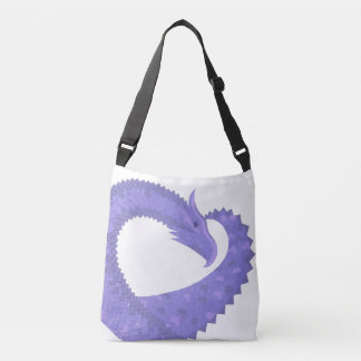 Periwinkle heart dragon on white crossbody bag
