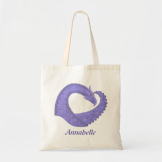 Periwinkle heart dragon on white tote bag