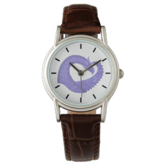 Periwinkle heart dragon on white watch