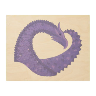 Periwinkle heart dragon on white wood wall art