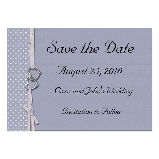 Periwinkle Hearts Save the Date Card Business Cards