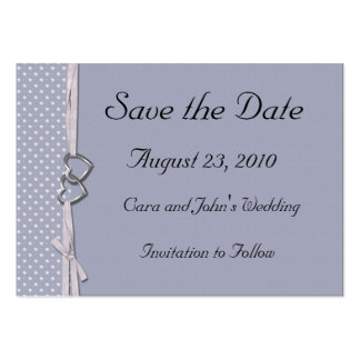 Periwinkle Hearts Save the Date Card Pack Of Chubby Business Cards