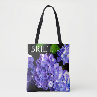 Periwinkle Hydrangea tote for the Bride