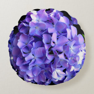 Periwinkle Hydrangeas Round Cushion
