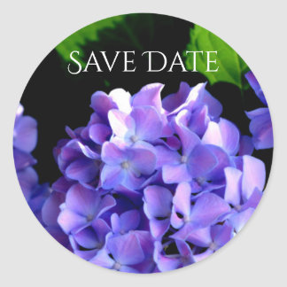 Periwinkle Hydrangeas - save the date stickers