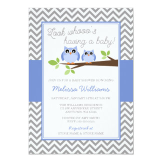 Periwinkle Owl Gray Chevron Girl Baby Shower Card