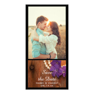 Periwinkle, Pearls Barn Wood Wedding Save the Date Picture Card