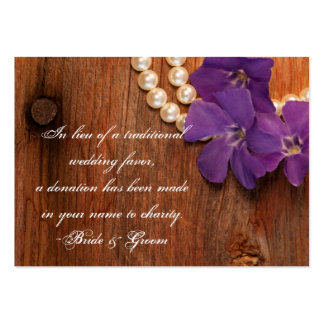 Periwinkle & Pearls Country Wedding Charity Favor Business Cards