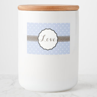 Periwinkle Polka Dot and Lace Love Food Label