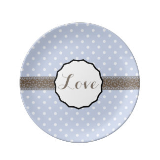 Periwinkle Polka Dot and Lace Love Plate