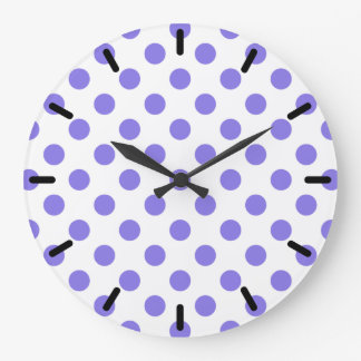 Periwinkle polka dots wall clock