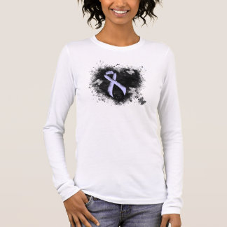 Periwinkle Ribbon Grunge Heart Long Sleeve T-Shirt